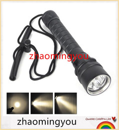 Wholesale Flashlight Dimmer - 2016 New Waterproof 3* XM-L L2 Warm White Light Yellow LED Diving Flashlight Torch Lanterna With Stepless dimming switch