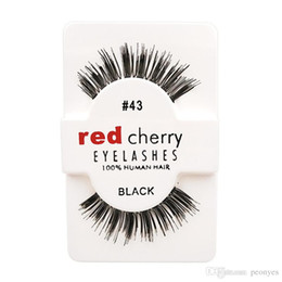 Wholesale Long Human Hair Eyelashes - Hot Models Fashion Handmade Red Cherry Beauty Hair Eyelashes Adhesive Makeup Glamour Fake Lashes 10 Kind