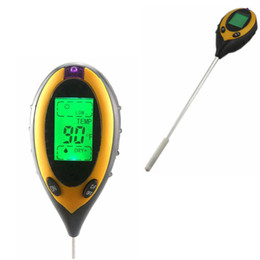 Wholesale Garden Temperature - 4 in 1 Digital Thermometer Garden Soil Moisture light Ph Meter Sensor Sunlight Temperature C F LCD Backlight Free Shipping