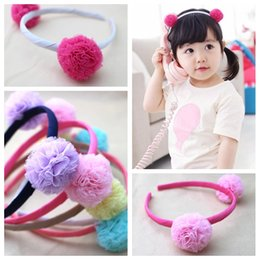 Wholesale Wholesale Gauze Fabric - Wholesale 10pcs lot 5C Fashion Gauze Pom Pom Girls Hair Bands Solid Cute Fabric Baby Girls Hair Sticks Hair Accessories Headware