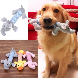 Wholesale Plush Pet Toy - 3toys  lot New Dog Toys Pet Puppy Chew Squeaker Squeaky Plush Sound Duck Pig & Elephant Toys 3 Designs FREE SHIPPING