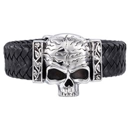 Wholesale Gothic Ring Wedding Set - Rock Roll Heavy leather Gothic 316L Stainless steel Large Biker Skull Bracelet Men's High Quality Bangle Jewelry