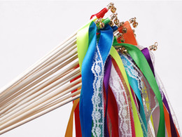Wholesale Move Shooting - New Romantic Wedding Decoration Colorful Ribbon Wands With Bells Party Holiday Fairy Stick Shooting Props Cheering Item Free Shipping