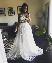 Wholesale Heavy Beaded Wedding Gowns - 2017 Sexy Wedding Dresses with Heavy 3D Flowers Beaded Sheer Top A line Sweep Train Bridal Gowns