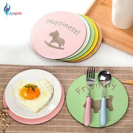 Wholesale Desk Drinking Coffee - Wholesale- Cartoon Wooden Coffee Drink Cup Coaster Placemats Round Pot Holder Heat Insulation Pad Kitchen Table Mats Desk Accessories