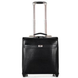 Wholesale Travel Trolley Wheels Luggage Bag - Wholesale-16 inch boarding Spinner wheels trolley case high-grade PU luggage Box travel bag,brown black Business portable suitcase bags