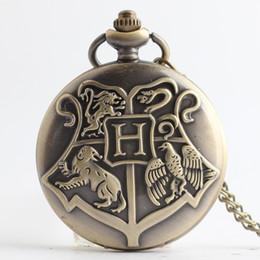 Wholesale Acrylic Necklaces - Harry Gryffindor Slytherin Hufflepuff Ravenclaw Hogwarts Badge Pocket Watch Bronze Watch Necklace Potter Fashion Jewelry Drop Shipping