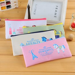Wholesale Horse Stationery - Wholesale-Cute Kawaii Cloth Zipper Pencil Case Lovely Cartoon Horse Pencil Bag For Kids Gift Korean Stationery