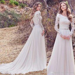 Wholesale High Neck Modest Wedding Dresses - elegant long sleeves modest muslim wedding dresses 2018 heavily embellished bodice bateau neckline covered lace back chapel train