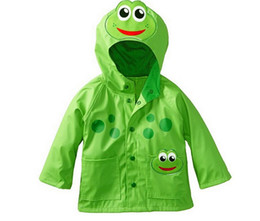 Wholesale Girls Frogs Clothing - Girl Frog rain coat Girls Enhanced Radiance Frog Rain Slicker Baby Rain coats Kids Coat Girl clothes Girl Outwear TL 001