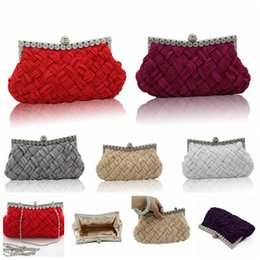 Wholesale Handmade Bags Purses - Handmade Evening Bags Silks and Satins Knitting Pleated Bags Women Fashion Crystal Party Handbags Clutch Purse Wedding HandBags 50pc OOA3027