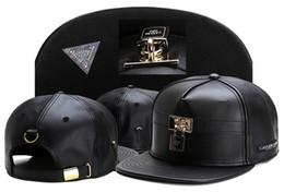 Wholesale Brown Leather Baseball - 2016 Brand Snapback Cap Baseball hat Gorras Casquette Bone For Men And Women Gorras Planas Hip Hop Trucker fashion leather Caps gold black