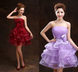 Wholesale Cheap Ball Dresses For Women - Short Prom Dresses 2017 Cheap Lavender Red Burgundy Homecoming Dresses Ruffles Bow Short Wedding Gowns Engagement Party Dresses for Women