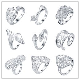 Wholesale Cheap Christmas Gifts Free Shipping - 2016 Mixed Order 925 Silver Ring opening cool party jewelry classic glamor style top quality cheap Hot 9pcs   lot free shipping