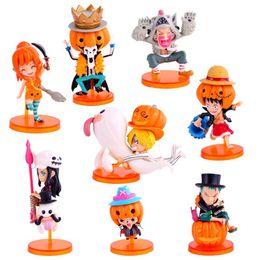 Figurine di un pezzo online-Giocattoli 8pcs / set One Piece PVC Action Figure Giocattoli Zucca Dress Up Rufy Zoro Nami Figurine Mini Toy Model Gift