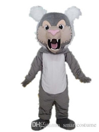 Wholesale Lion Adult Costumes - Good vision and good Ventilation a grey lion mascot costume with big mouth for adult to wear