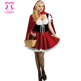 Wholesale Halloween Adult Fancy Dress - Wholesale-Sexy Little Red Riding Hood Role Play Party Fancy Dress Costumes For Women Halloween Plus Size Adult Cosplay Costume Carnival
