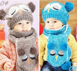 Wholesale Red Owl Baby Hat - Multicolor Caps Baby Infant Toddler Portable Popular Set Winter Baby Hat Boy Girl Kids Warm Hat Cap + Scarf Baby Hat Owl Free shipping
