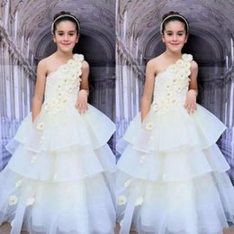 Wholesale Dress Child One Shoulder - Ivory Flora One Shoulder Girls Pageant Gowns Lace And Organza Tiered Flower Girl Dresses For Wedding Children Prom Party Dress Custom Made