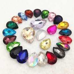 Wholesale Rhinestones Pointback - 13x18mm 128PCS COLOR Pointback Pear Drop Crystal Fancy Stone Teardrop   Droplet Glass Crystals For Jewelry Making ,DIY Accessory