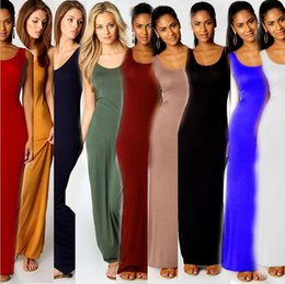 Wholesale Summer Vest Maxi Dress - 2015 Stylish Women Vest Tank Maxi Dress Silk Stretchy Casual Summer Long Dresses Sleeveless Backless Lady Dress Clothing Newest