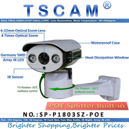 Wholesale Ip Cameras Wired - TSCAM SP-P1803SZ-POE Pan Tilt Zoom IP Camera ONVIF HD 1080P 2.0MP With POE TF Micro SD Card Slot Two Way Audio Line