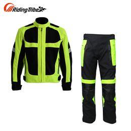 Wholesale Ride Auto - Riding Tribe Breathable Summer Motorcycle Protective Jacket +Hip Protector Pants Tracksuits Kits Motorcycle Racing Suits Jacket & pants