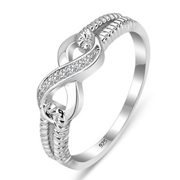 Wholesale Genuine 925 Silver Jewelry - Size 5 6 7 8 9 10 Genuine 925 Sterling Silver Jewelry Wedding Brand Rings For Women Infinity Love Rings