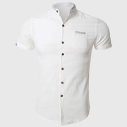 Wholesale Japanese Wear - Wholesale-Men Short Sleeve Shirts Summer Cotton Linen Shirt Casual Plain Solid Classic Wear Japanese Style Stun Chest Pockets