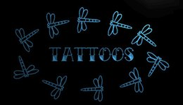 Wholesale Tattoo Signs Led - LS1687-b-Tattoo-Dragonfly-Enseigne-Lumineuse-Light-Sign Decor Free Shipping Dropshipping Wholesale 6 colors to choose