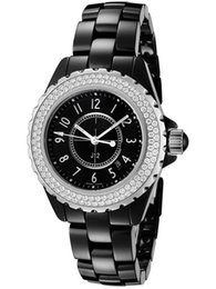 Wholesale Swiss Movement Dive Watches - Swiss Brand fashion style womens dive watch black ceramic luxury lady watches japan quartz movement