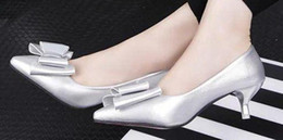 Wholesale Comfort Shoes Heels - Low-heeled pointed shoes Asakuchi Korean bow with comfort in fine with scoop shoes shoes work