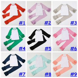Wholesale Winter Outfits For Girls - 14colors Kids girl Ruffle Raglan Boutique outfit Baby girl fashion Ruffled Tees Personalized Pants 2pcs Custom for 1-10T