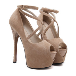 Wholesale Womens Dance Shoes High Heel - 16cm Super Sexy Cross Strappy Platform High Heels Pumps Womens Nightclub Dance Shoes Size 35 to 40