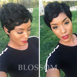Wholesale Celebrity Human Hair - Short Curly Human Hair Wigs Brazilian Hair Celebrity Cheap Very Short Natural Black Human None Lace Guleless Wig For Black Women