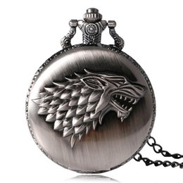 Wholesale Unique Gifts Family - 2017 Antique Game of Thrones Strak Family Crest Winter is Coming Design Pocket Watch Unique Gifts Unisex Fob Clock