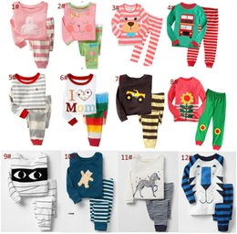Wholesale Stripes Pajamas - Spring autumn kids pajamas set 100% cotton children sleepwear stripe pajamas suit top+pants 2 pcs for 2~7Y kids 6 s l