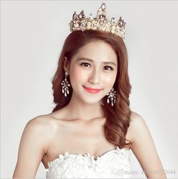 Wholesale Hoop Bride Hair Accessory - European Fashion brand baroque bride accessories Rhinestone tiara round Big crown Gem hair hoop accessories Crown Princess 1SET