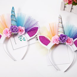 Wholesale Girls Kid Stereo Rose - Glitter cat ear hair bands kids unicorn horn cospaly hair accessory children colorful stereo rose flowers princess headbands girl gift