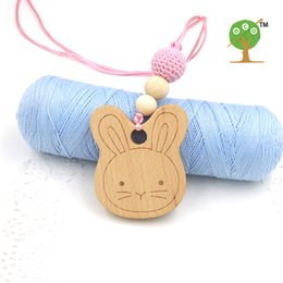 Wholesale Necklaces Bunny Rabbit - wood bunny cute rabbit Mommy nursing necklace teething charm beech wooden teether baby teether shower gift EN43