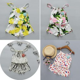 Wholesale Korean Style Clothing Free Shipping - Korean Baby girl summer outfits girl cotton lemon Fruit Stripe tops+short pants 2piece sets baby girl clothes suits Free shipping E1076