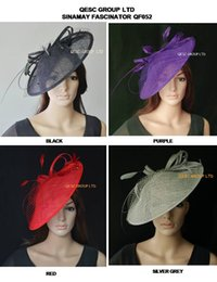 Wholesale Big Hats Feathers - BIG Sinamay Disc Fascinator hat.diameter 35cm, with Feather and Veiling for Kentucky Derby,wedding,church,races,4 colors
