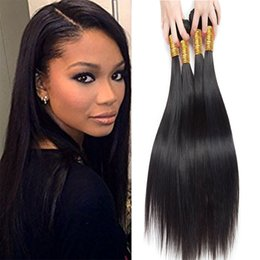 Wholesale 18 Inch Brazilian Remy Hair - Brazilian Hair Straight 7A Grade 100% Unprocessed Remy Human Hair 4 Bundles Weave Natural Color (12 14 16 18) inches)