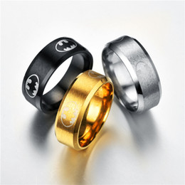 Wholesale Wholesale Batman Party Plates - 2017 new 8mm batman Sealing glair personality Business steel Rings Luxury Upscale rings men s steel Fashion Jewelry Wholesale free shipping