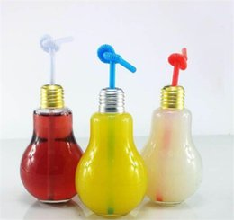 Wholesale Decoration Glass Bottles - Creative Eye-catching Light Bulb Shape Tea Fruit Juice Drink Bottle Cup Plant Flower Glass Vase Home Office Desk Decoration G103