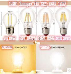 Wholesale White Globe Lamp E27 6w - E27 B22 Led Filament Bulbs Light 360 Angle A60 A19 Dimmable Edison Lamp 2W 4W 6W 8W 110-240V Warranty 3 Year Super Bright