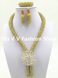 Wholesale Bracelet Single Row Crystals - 2016 luxury silver Yellow Wedding Necklace Set African Braid Crystal Beaded Jewelry Set Single Row Lady Jewelry Set Free Shipping
