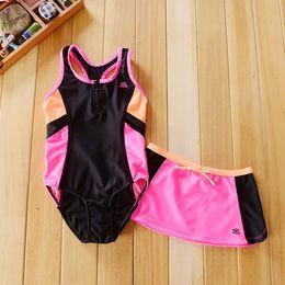 Wholesale Color Block Skirts - 7-14T baby girls Contrast color swimsuit 2 pcs bathing suit for kids Sun Block Swimwear Bodysuit + Skirt Beach Wear