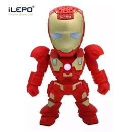 Wholesale Flash Light Mp3 - C-89 Iron Man Wireless Bluetooth Speakers Mini Portable Sealed Button Music Speaker LED Flash Light With TF Card FM Radio For Phone Computer