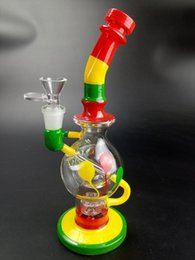 Wholesale Rainbow Glass Bowl - Rainbow Colorful Dab Rigs Glass Bong With Bowl Showerhead Handwork Recycler Rigs Glass Water Pipes for Free Shipping WP491